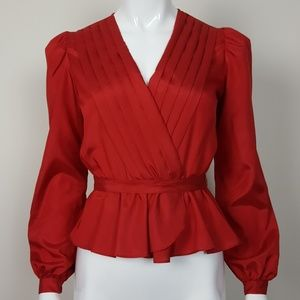 Vintage Red Peplum Blouse